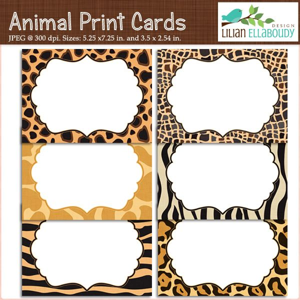 animal print cards and invites printable set of six large cards - Animal Pictures To Print Free