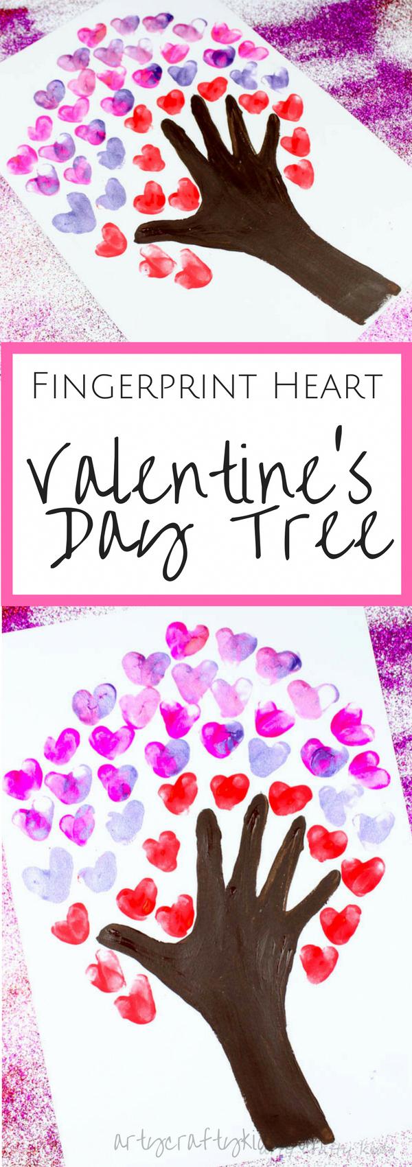 Fingerprint Heart Valentines Day Tree | Arty Crafty Kids