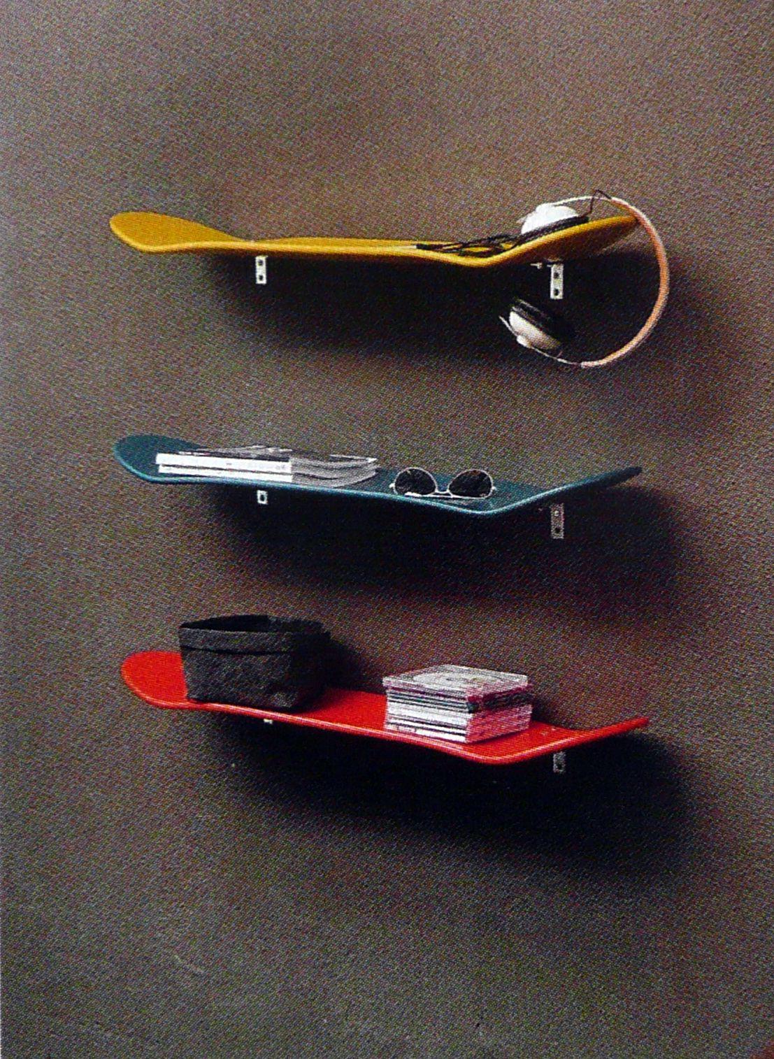 Skateboard Shelf skateboard shelf for the hallway, would use used skateboards tho