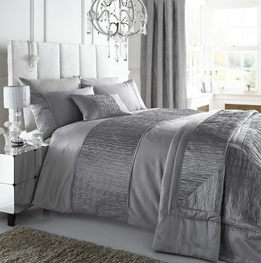 Bedroom,Stylish Grey Faux Silk Beautiful Duvet Covers With
