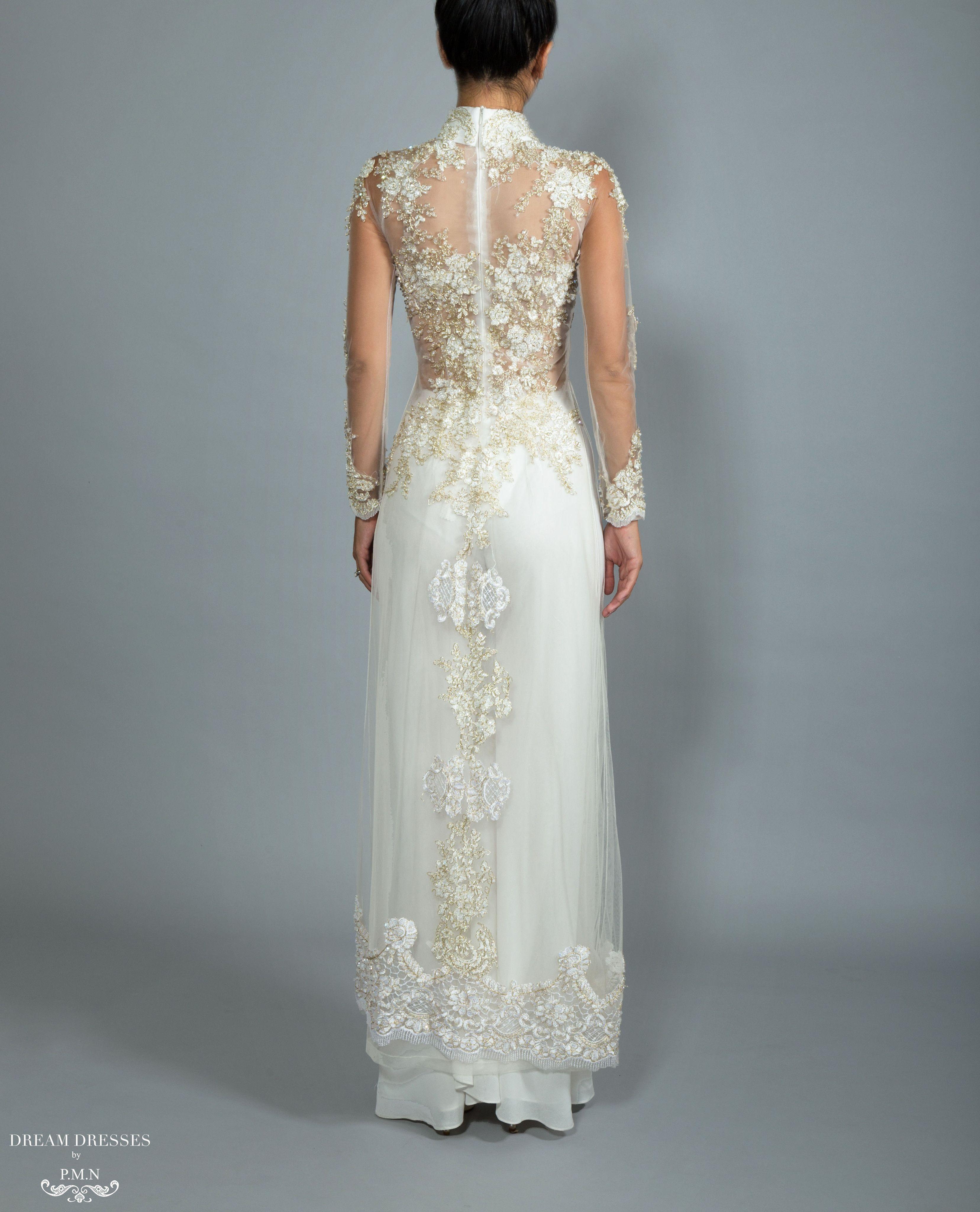 White Ao Dai | Custom Made Vietnamese Bridal Dress (#NADINE ...