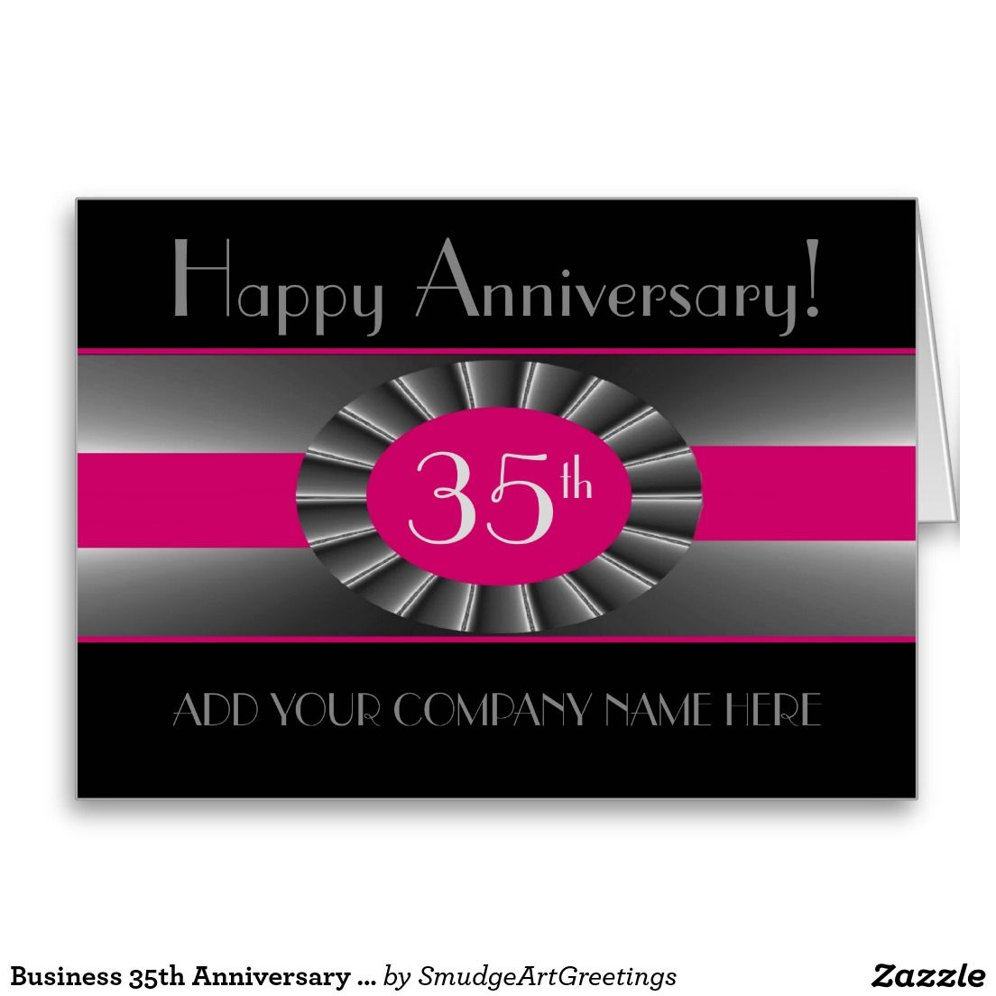 Business 35th Anniversary - Pink Ribbon Victor Card | 35th ...