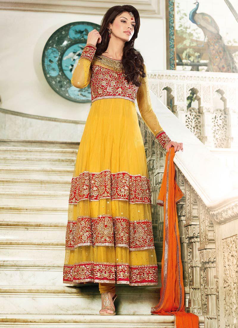 $124 Cbazaar #Adorning #Resham #Enhanced #Net #Churidar Suit #PunarVivaah