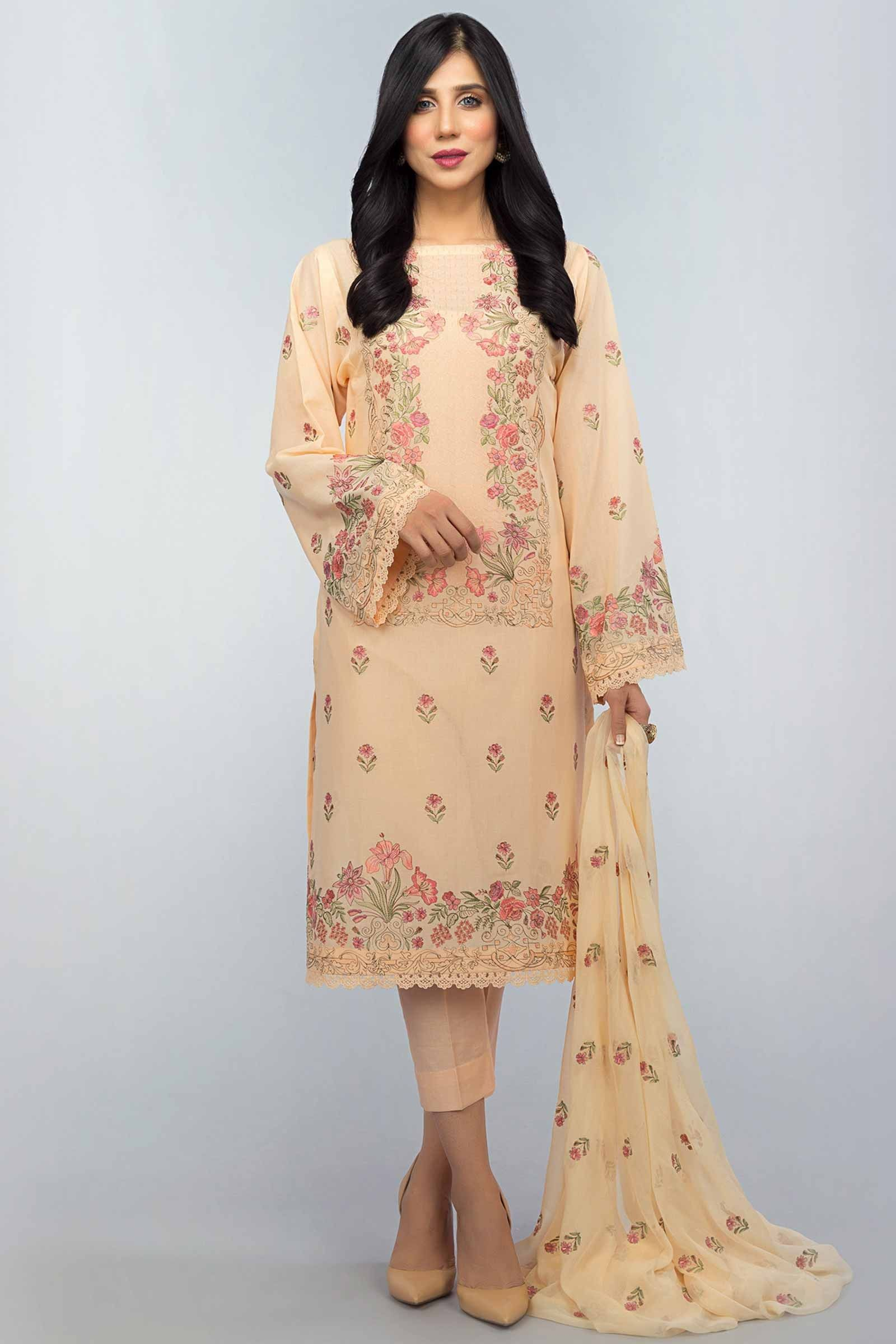 9d0976620f8 cream colored two piece unstitched Lawn dress by Bareeze summer lawn  collection  springcollection  spring  readytowear  pretwear  unstitched   online  linen ...