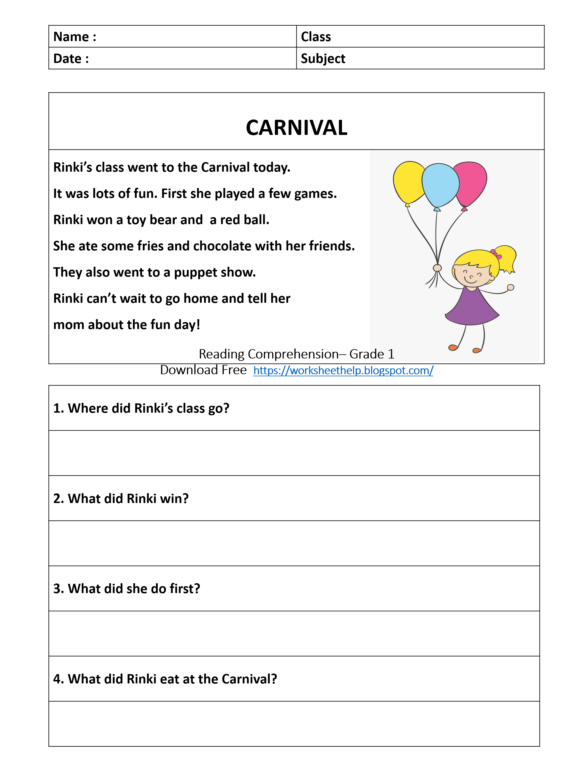hight resolution of Reading Comprehension Worksheet - Grade 1 - Carnival   Comprehension  worksheets