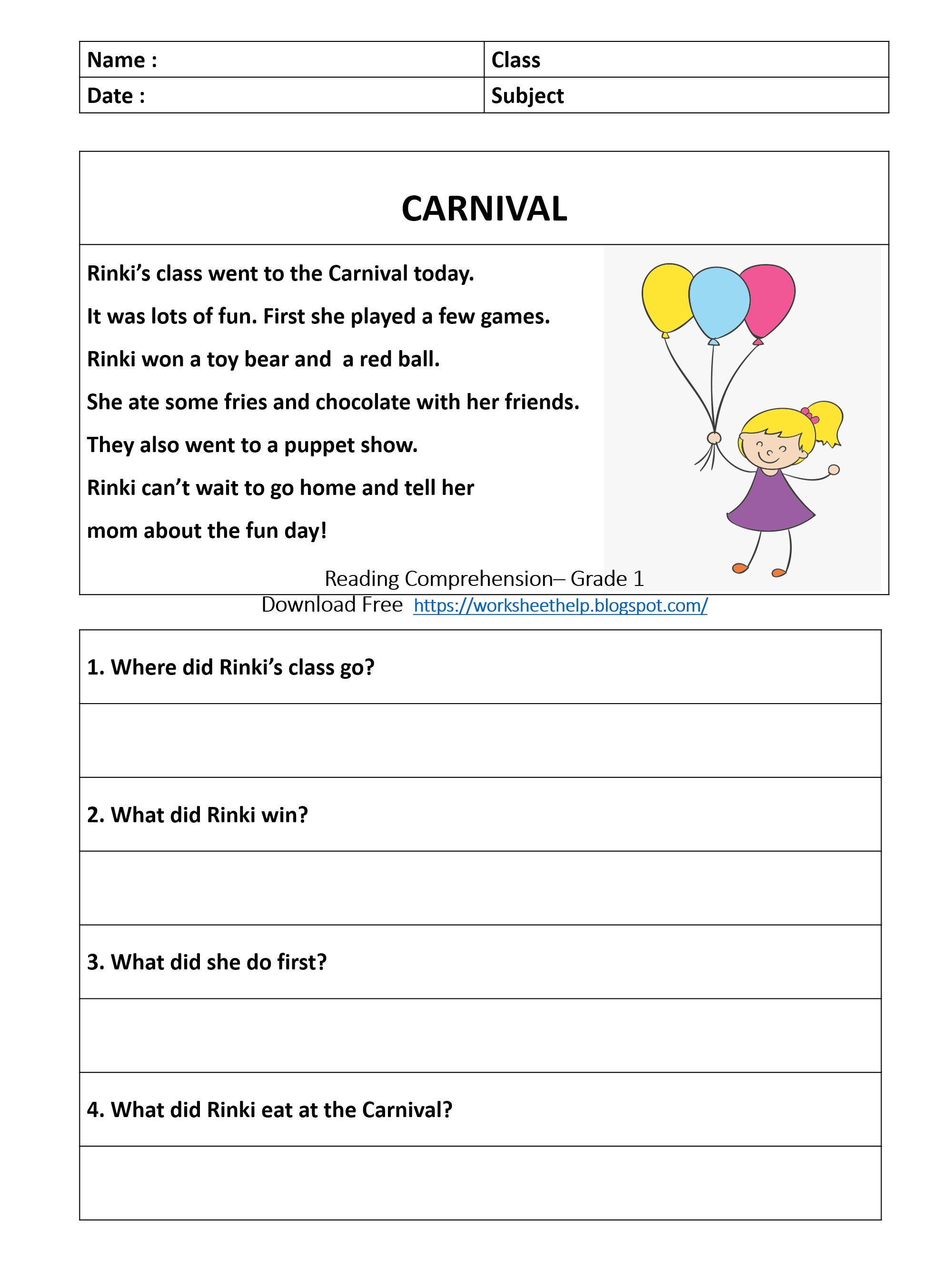 Reading Comprehension Worksheet - Grade 1 - Carnival   Comprehension  worksheets [ 2666 x 2000 Pixel ]