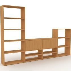Photo of Wohnwand Eiche – Individuelle Designer-Regalwand: Türen in Eiche – Hochwertige Materialien – 301 x 1