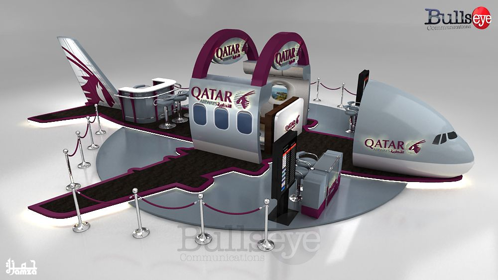 Exhibition Stand Qatar : Qatar airways a booth on behance creative feature