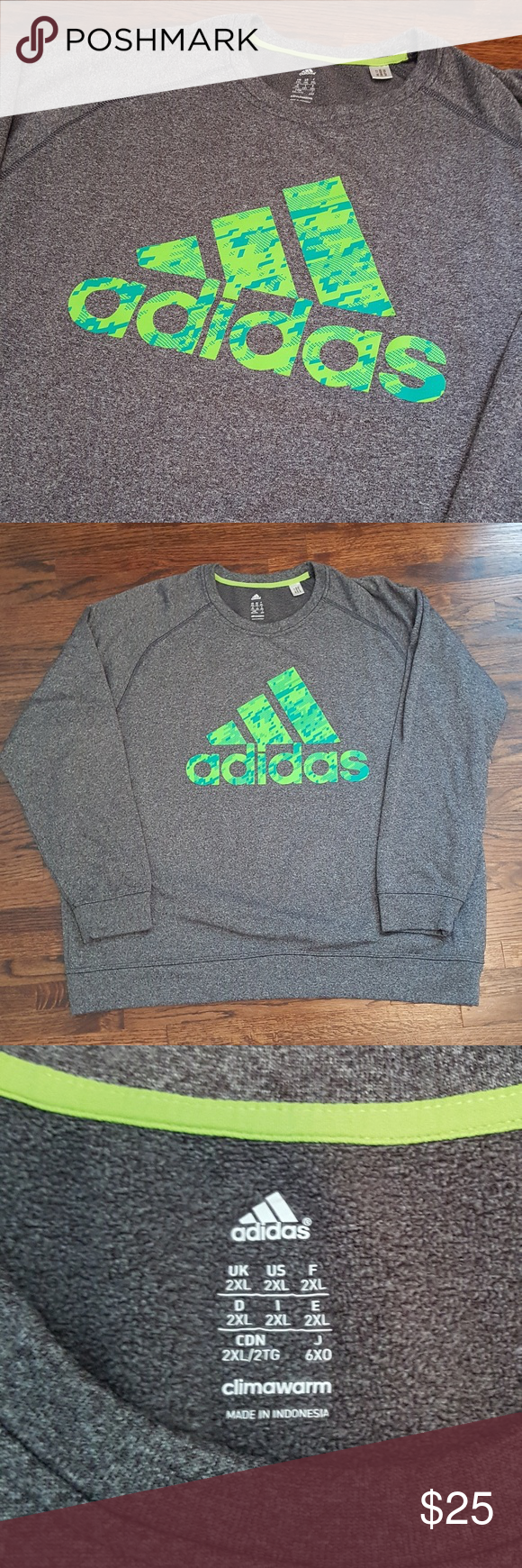 Predownload: Adidas Climawarm Grey Crew Neck Sweatshirt 2xl Green Logo Design Clothes Design Green Logo [ 1740 x 580 Pixel ]