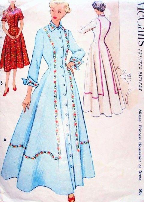 1950s Beautiful Housecoat Robe Hostess Gown Pattern Mccalls 8741 Vintage Sewing Pattern Figure Flat Gown Pattern Vintage Dress Patterns Vintage Sewing Patterns