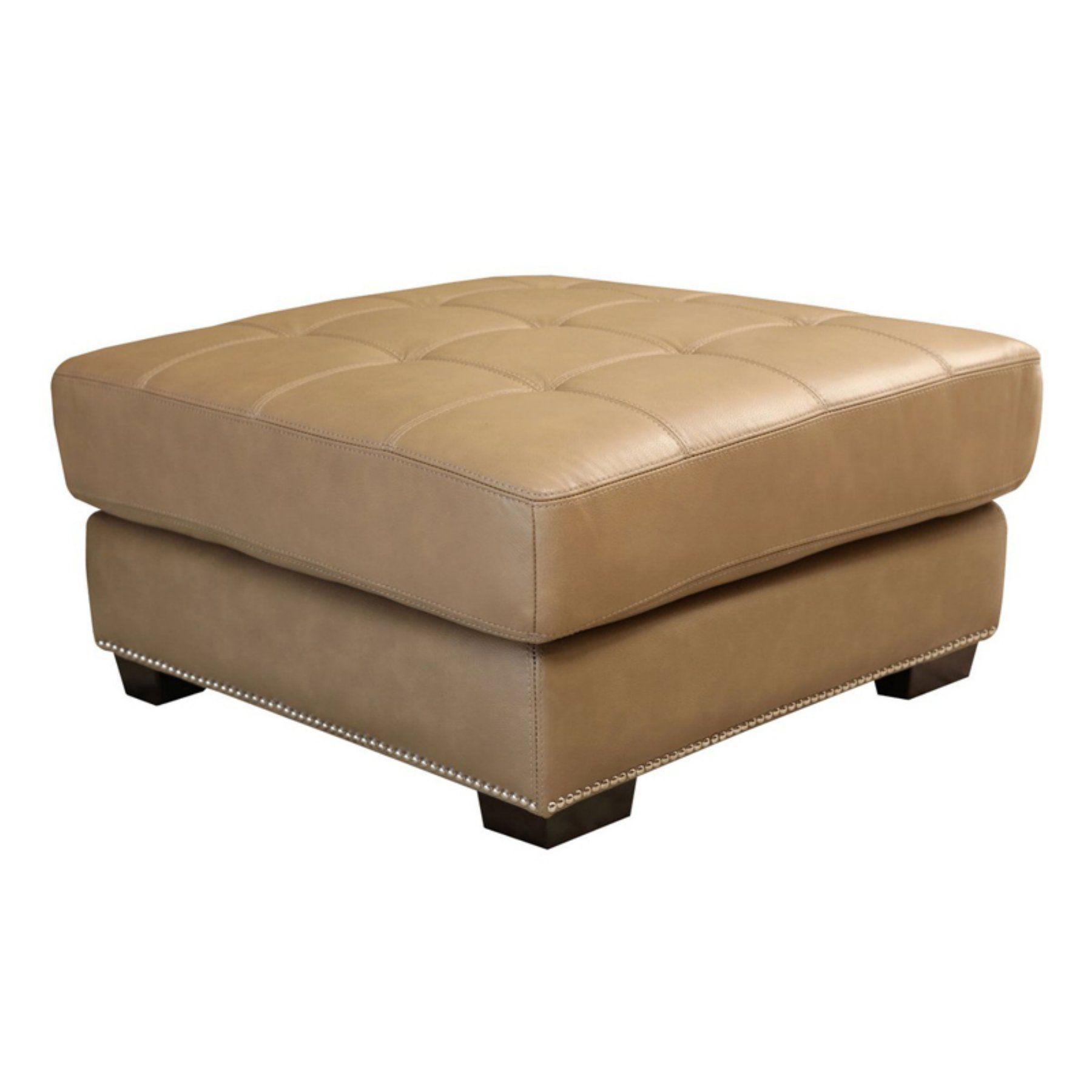 Pleasing Abbyson Margot Top Grain Leather Tufted Ottoman Beige Sk Theyellowbook Wood Chair Design Ideas Theyellowbookinfo