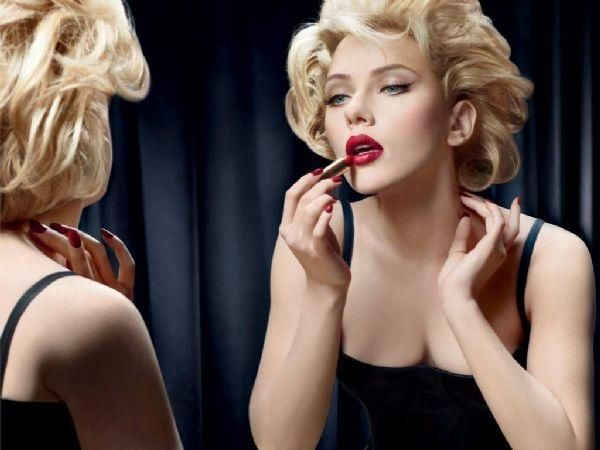 Blonde and Red Lipstick