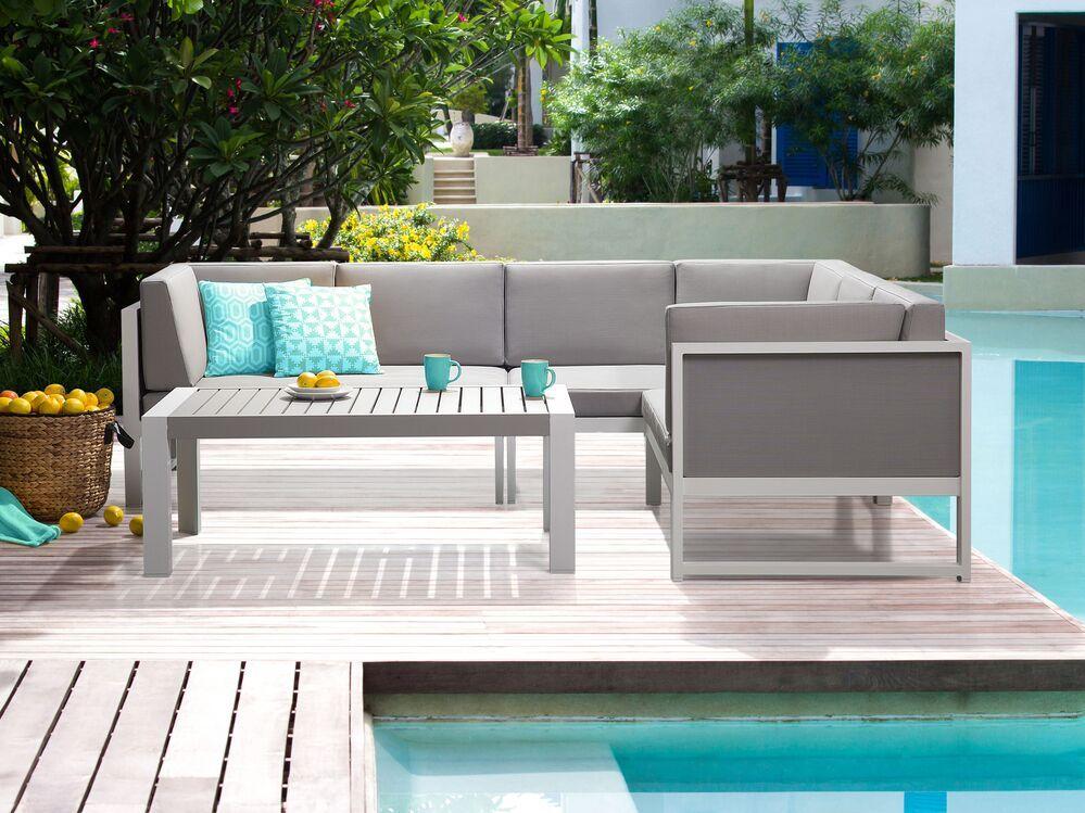 Salon De Jardin En Aluminium Blanc Et Gris Castella En 2020 Table Basse Aluminium Ensemble Canape Salon De Jardin