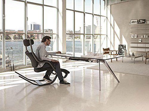 Varier gravity balans zero gravity kneeling chair black step fabric with natural base