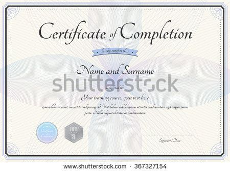 Certificate Of Completion Template In Vector With Florist Botany    Certification Of Completion Template  Certificate Of Completion Free Template