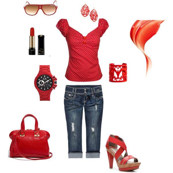 Red Jean Capris