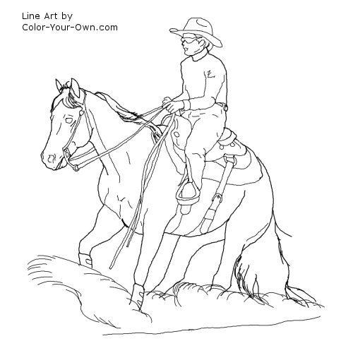 MountingaHorsedrawjpg 600406  Color HorsesRodeo