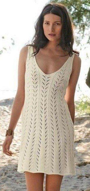 летнее платье спицами схема и описание вязаные платья спицами схемы