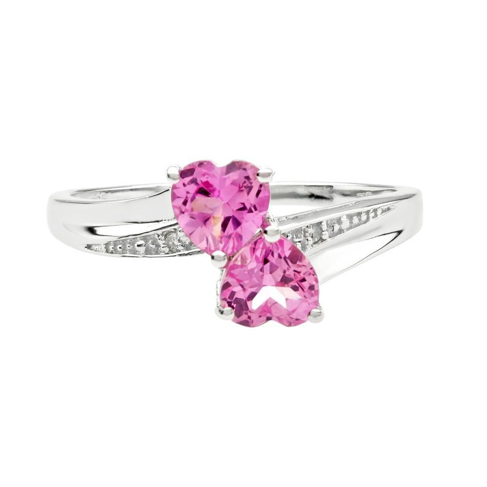 Created Pink Sapphire Heart Sterling Silver Diamond Accent ...