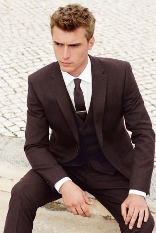 Buy Burgundy Flannel Skinny Fit Suit: Jacket from the Next UK ...