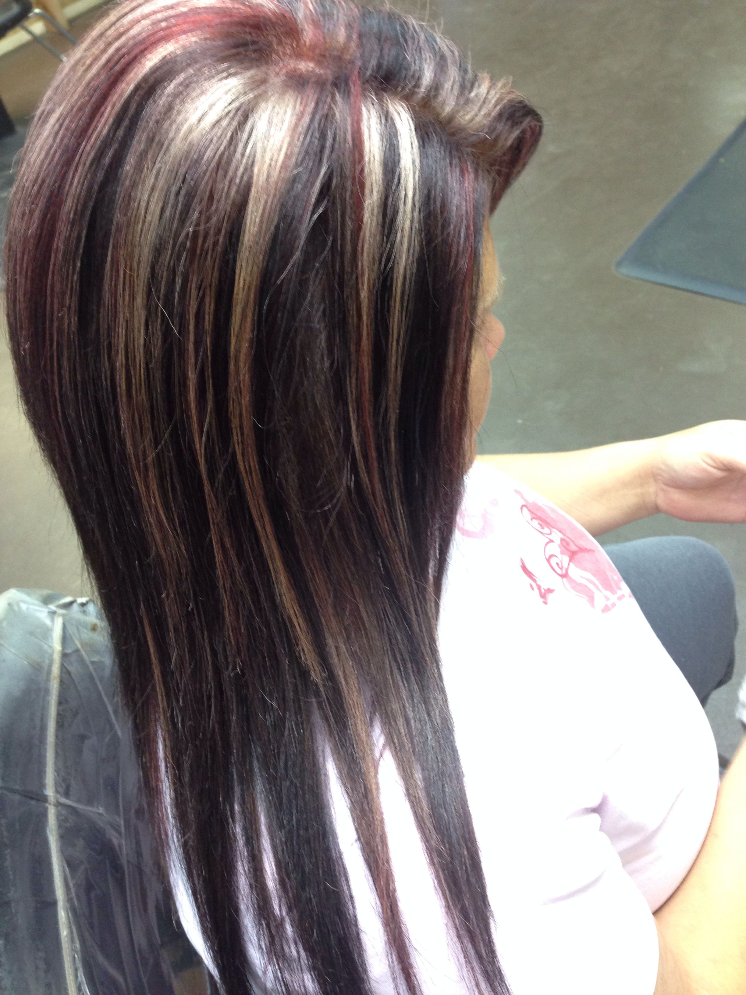 Blonde Highlights Red Lowlights Brown Base Hair By Megan
