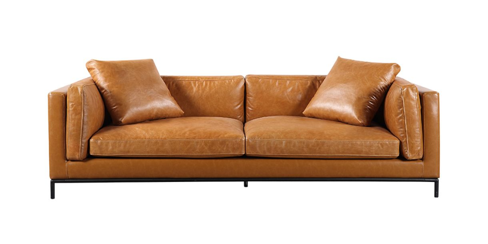 Gavin Tan Leather Sofa In 2020 Tan Leather Sofas Leather Sofa Contemporary Modern Living Room Furniture