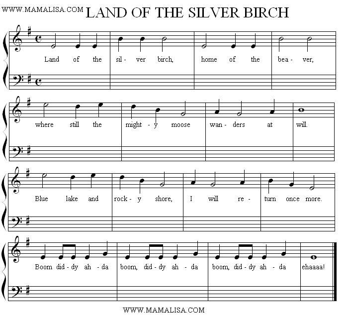 Sheet Music Land Of The Silver Birch With Images Childrens