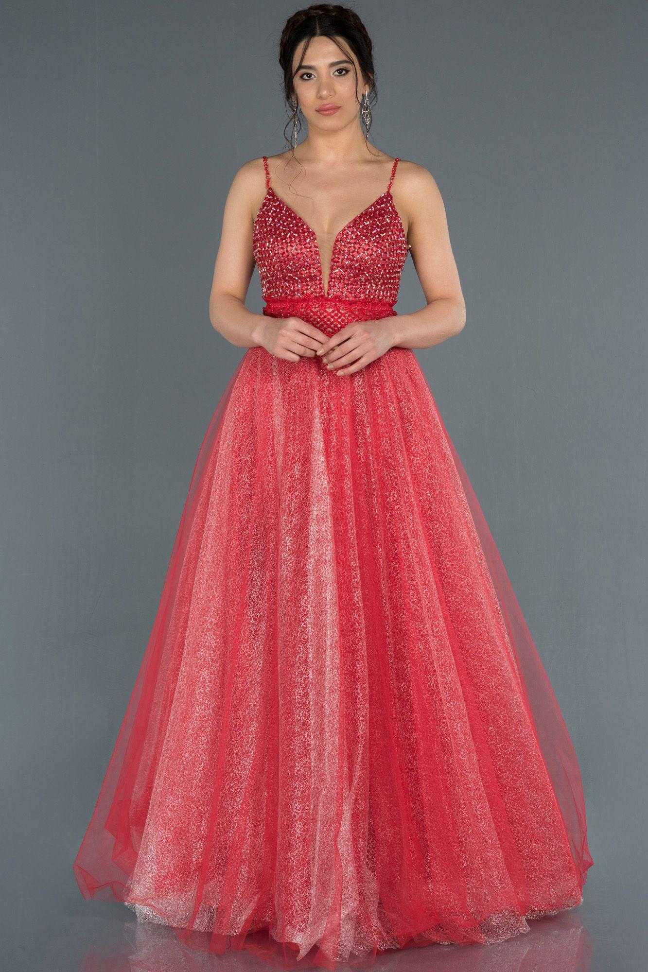 Kirmizi Sirt Dekolteli Tas Islemeli Tul Abiye Elbise Abu1336 2020 The Dress Elbise Modelleri Uzun Elbise