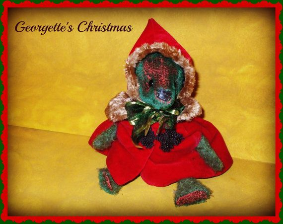Christmas Vintage Style Mohair Bear. $120.00, via Etsy. #handmade