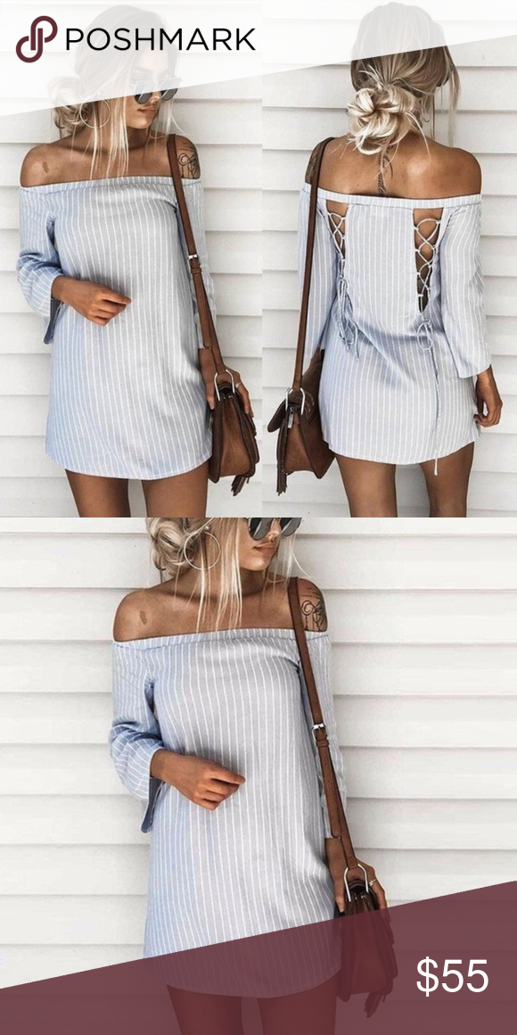 🎉COMING SOON🎉 🌷 Off Shoulder Striped Dress 🌷 Pattern: Stripe Fabric: Cotton Color: Gray Size: S ❤️BRAND ONLY FOR EXPOSURE ❤️ LF Dresses