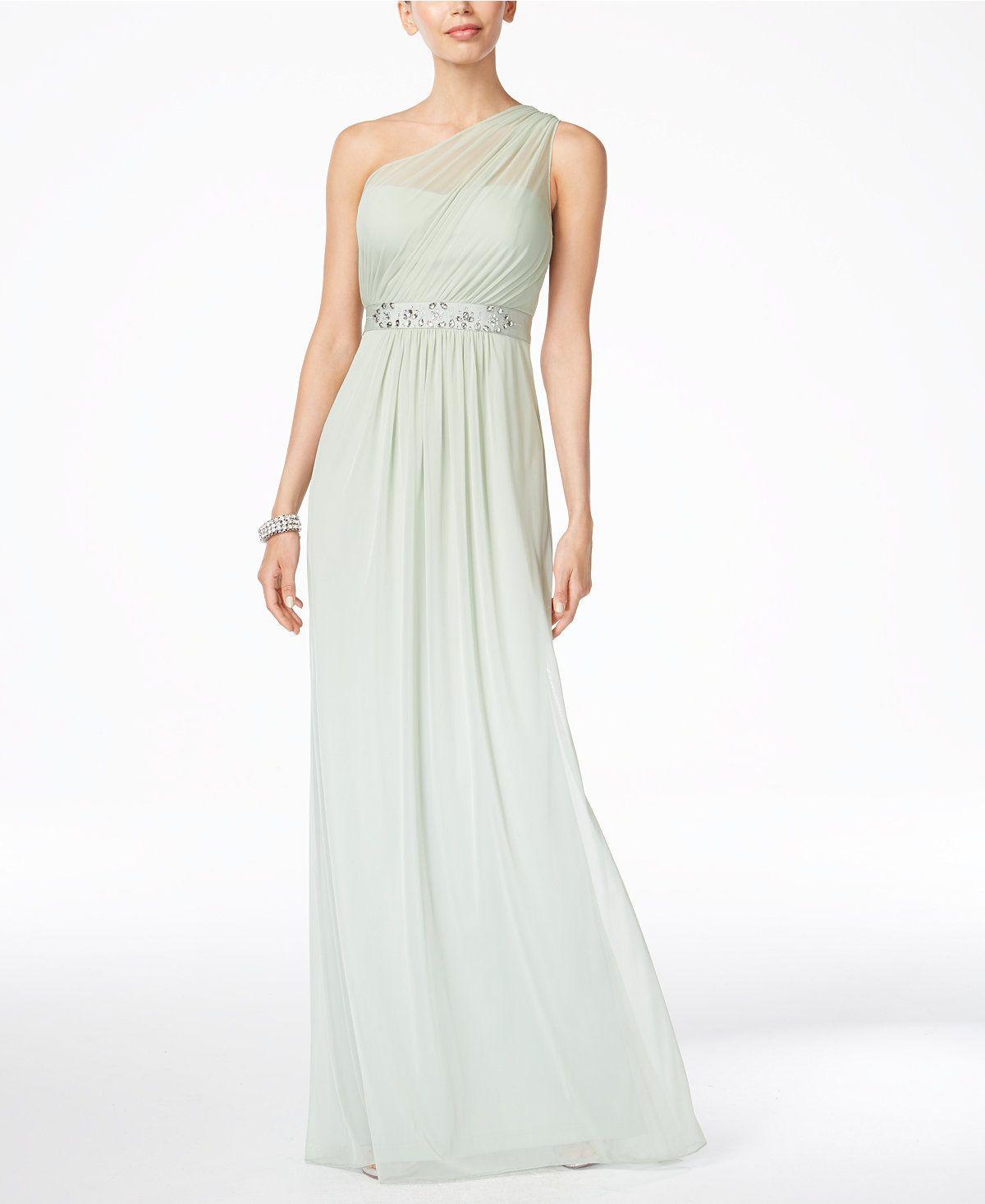 Adrianna papell embellished oneshoulder gown dresses