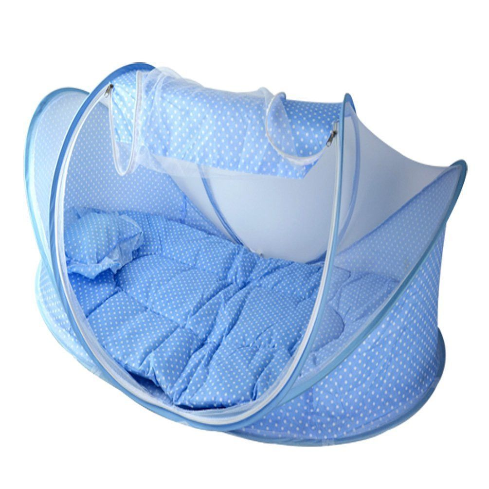 Baby bed camping - Portable Travel Baby Crib With Mosquito Net Padded Mattress N Pillow Tent Bed Shelter