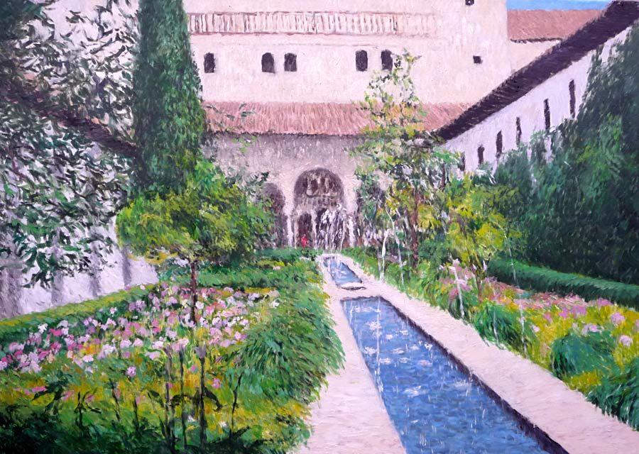 Cuadro al oleo de los jardines de la alhambra alhambra - Oleos de jardines ...