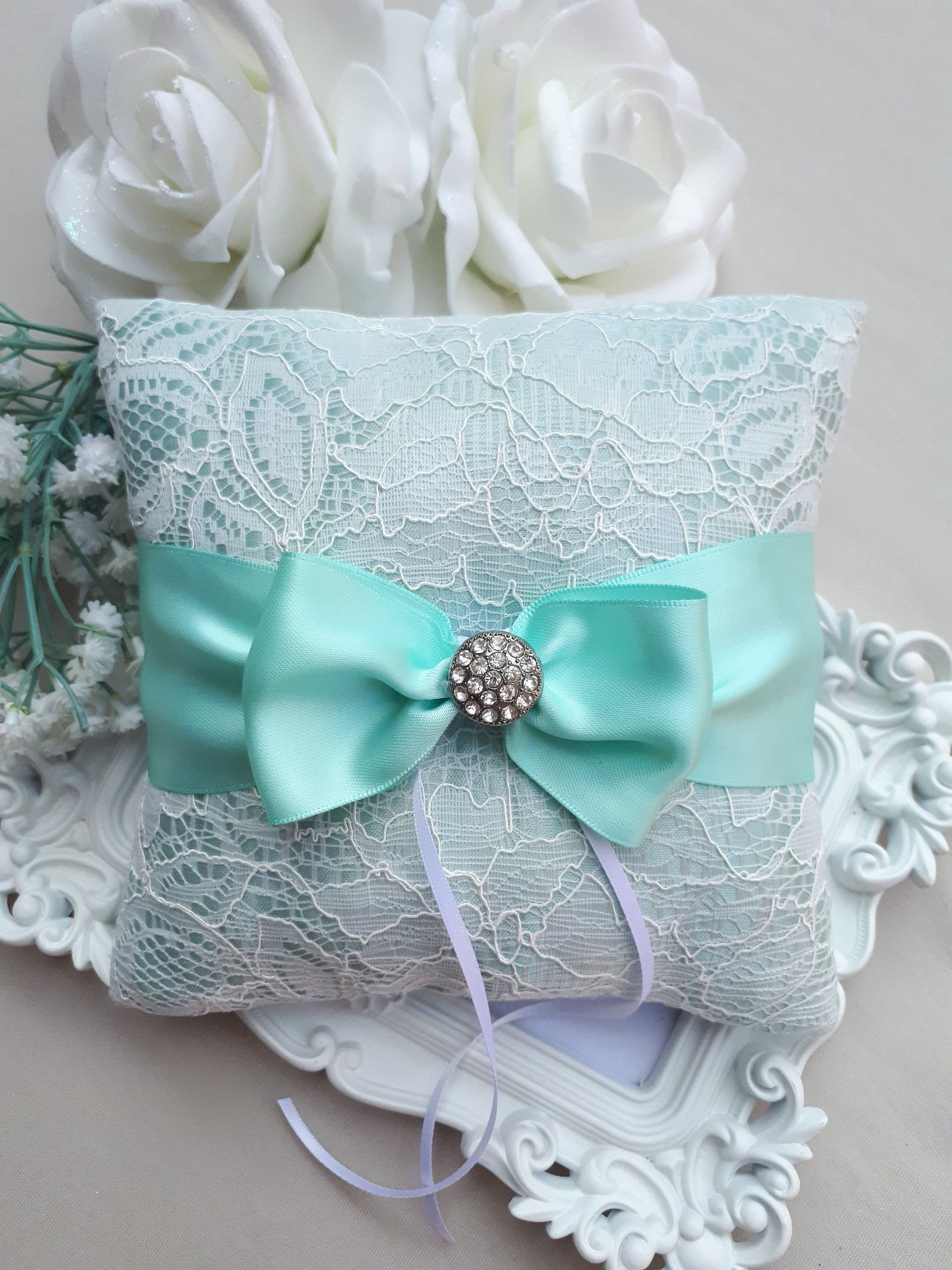 NEW Wedding Ring Pillow, Lace Ring Pillow With Turquoise