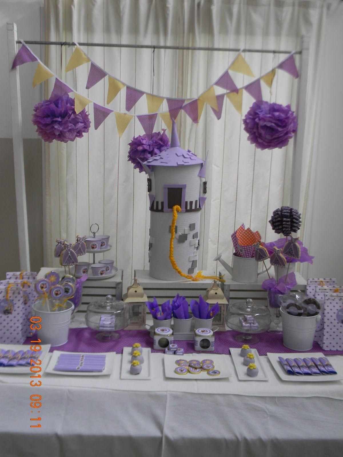 Cumples tematicos enredados rapunzel - Decoracion mesa cumpleanos ...