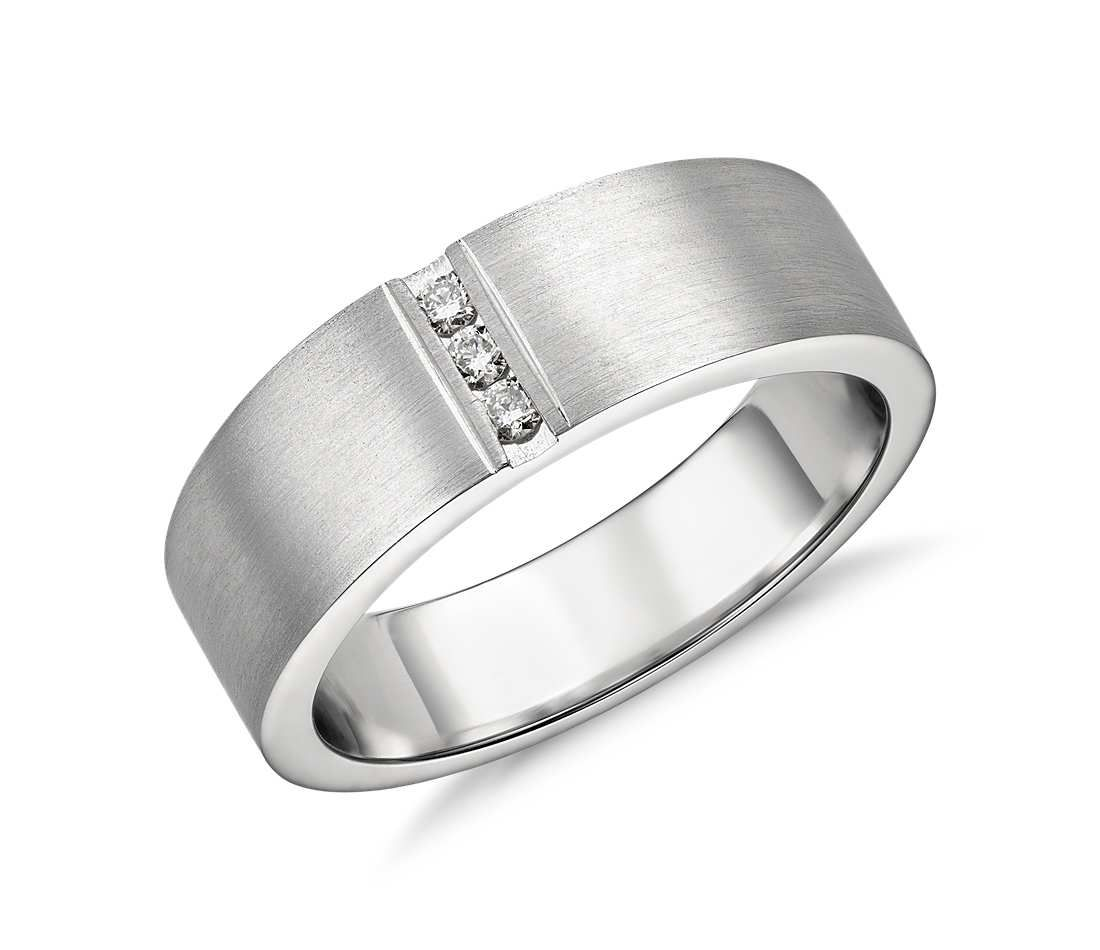 modern wedding rings Men s Modern Channel Diamond Ring in Platinum Wedding Ring