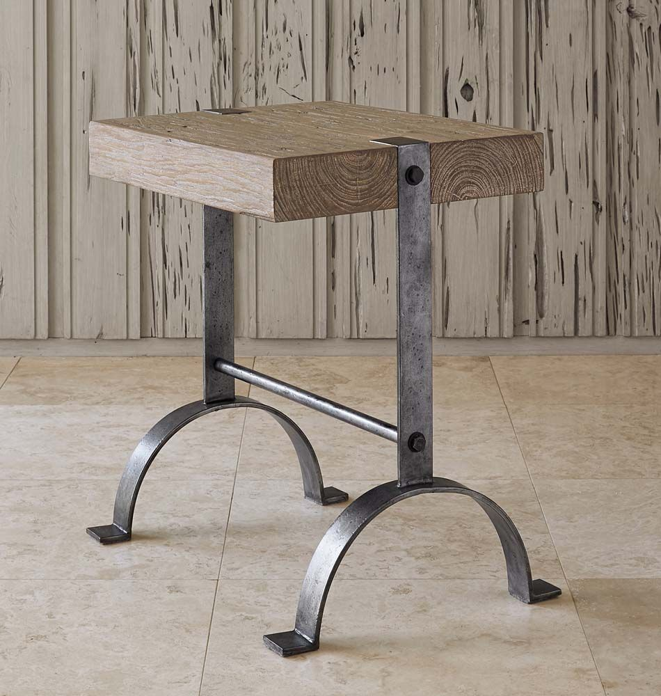 Go green with our new reclaimed teak western decor furniture available - Blacksmith Casual Accent Table Western Cocktail And End Tables Hand Forged Iron Base With An Antique Silver Leaf Finish Recycled Teak Top With A Light