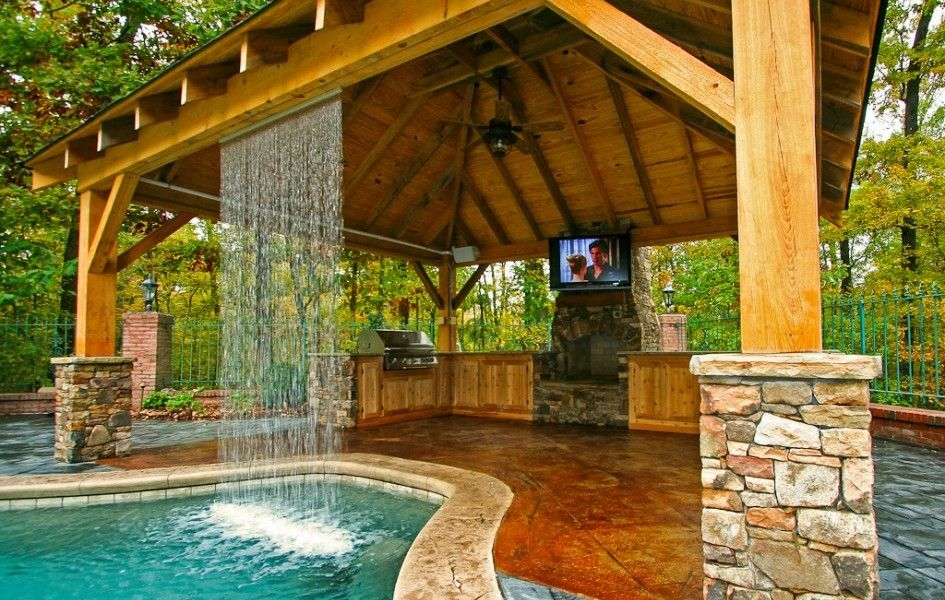 Backyard Design Ideas With Pool And Outdoor Kitchen  Landscaping Custom Patio Kitchens Design Design Inspiration