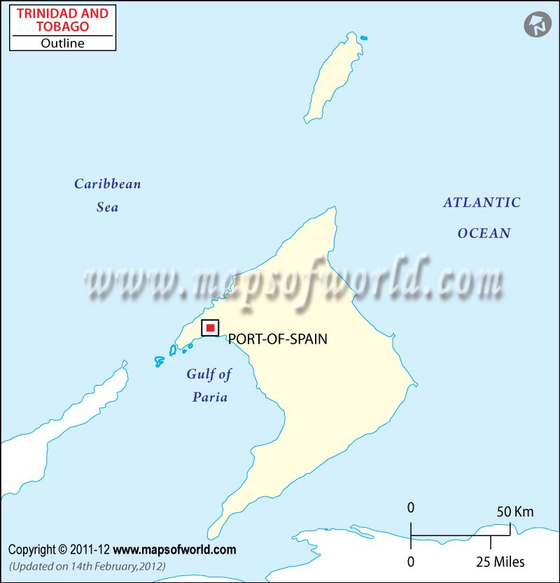 Trinidad and Tobago Outline Map Social Studies Physical Features