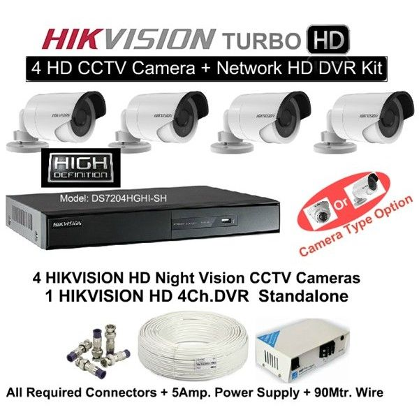 1 MP HD HIKVISION 4 CCTV Camera DVR Kit (With All Accessories and ...