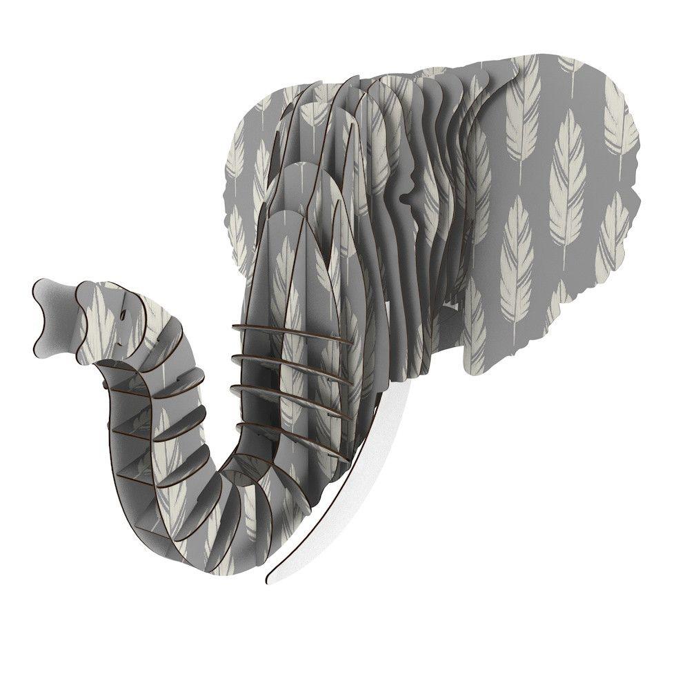 "Amanda Lane ""Feathers Gray Cream"" Grey Pattern Eyan Elephant Bust Jr."