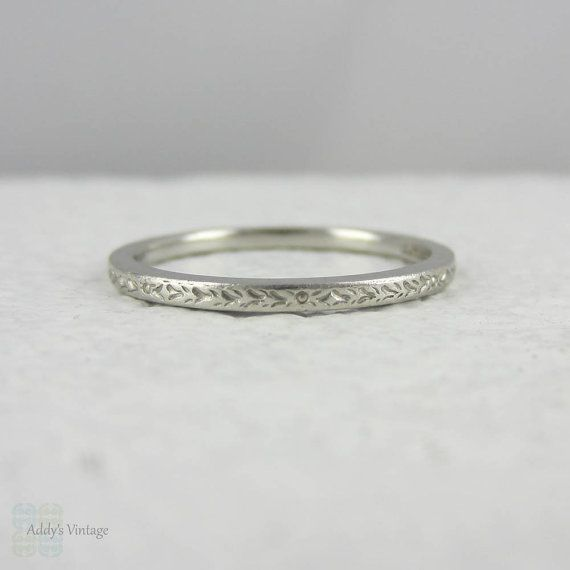 Art Deco Platinum Wedding Ring Engraved Band With Flower Design Circa 1930s
