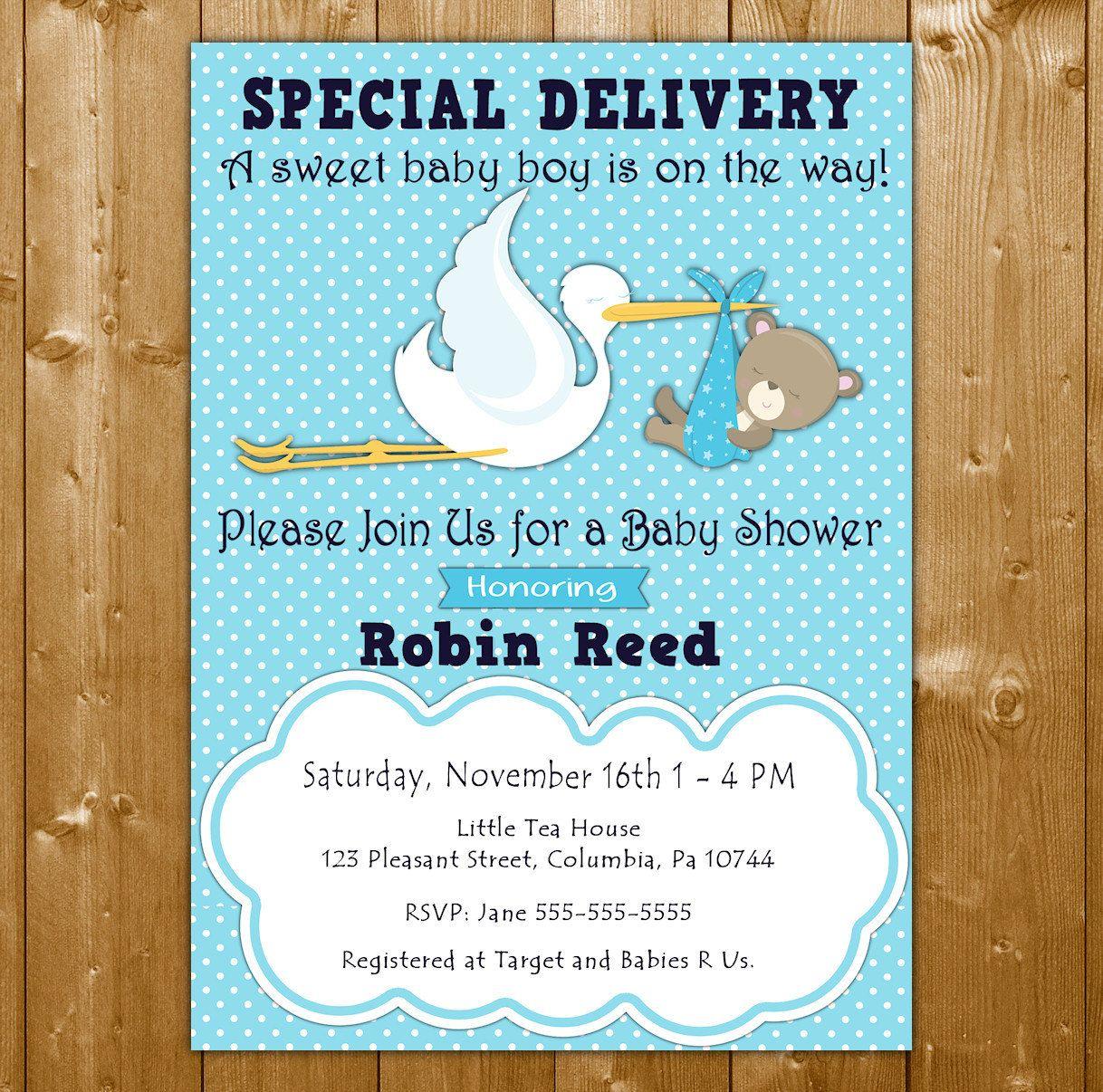 Stork Baby Shower Invitation - Baby Shower Invitation for a Boy ...
