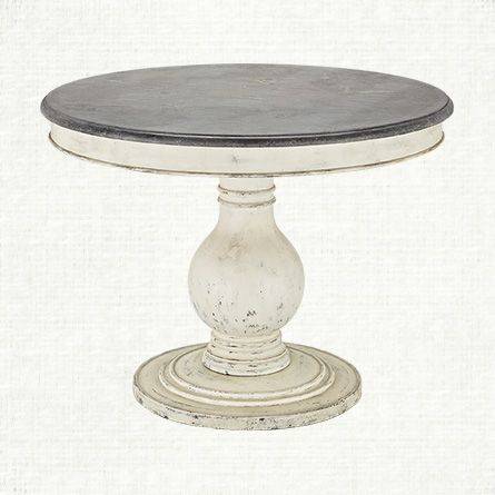 Luca Round Pedestal Dining Table With Bluestone Top In Rustic - 48 round white pedestal table