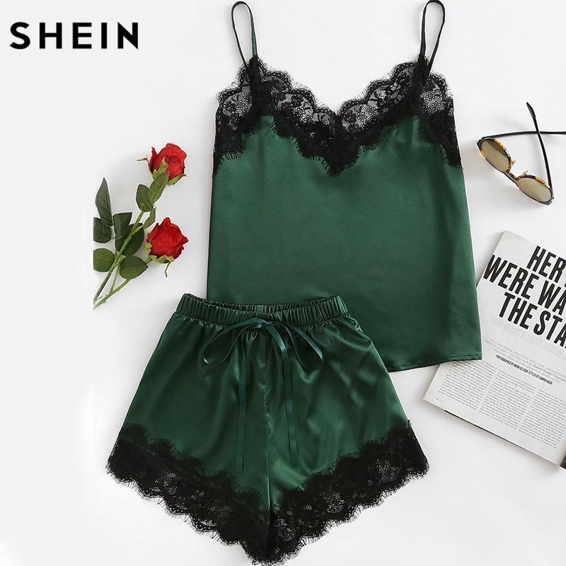 85d036426a0b Pajama Sets Women Sleepwear Army Green Spaghetti Strap V Neck Lace Trim  Satin And Shorts Pajama Set