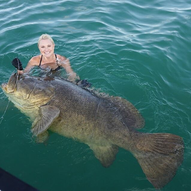 Fishingsir got nothing these days not this lady did for Goliath grouper fish