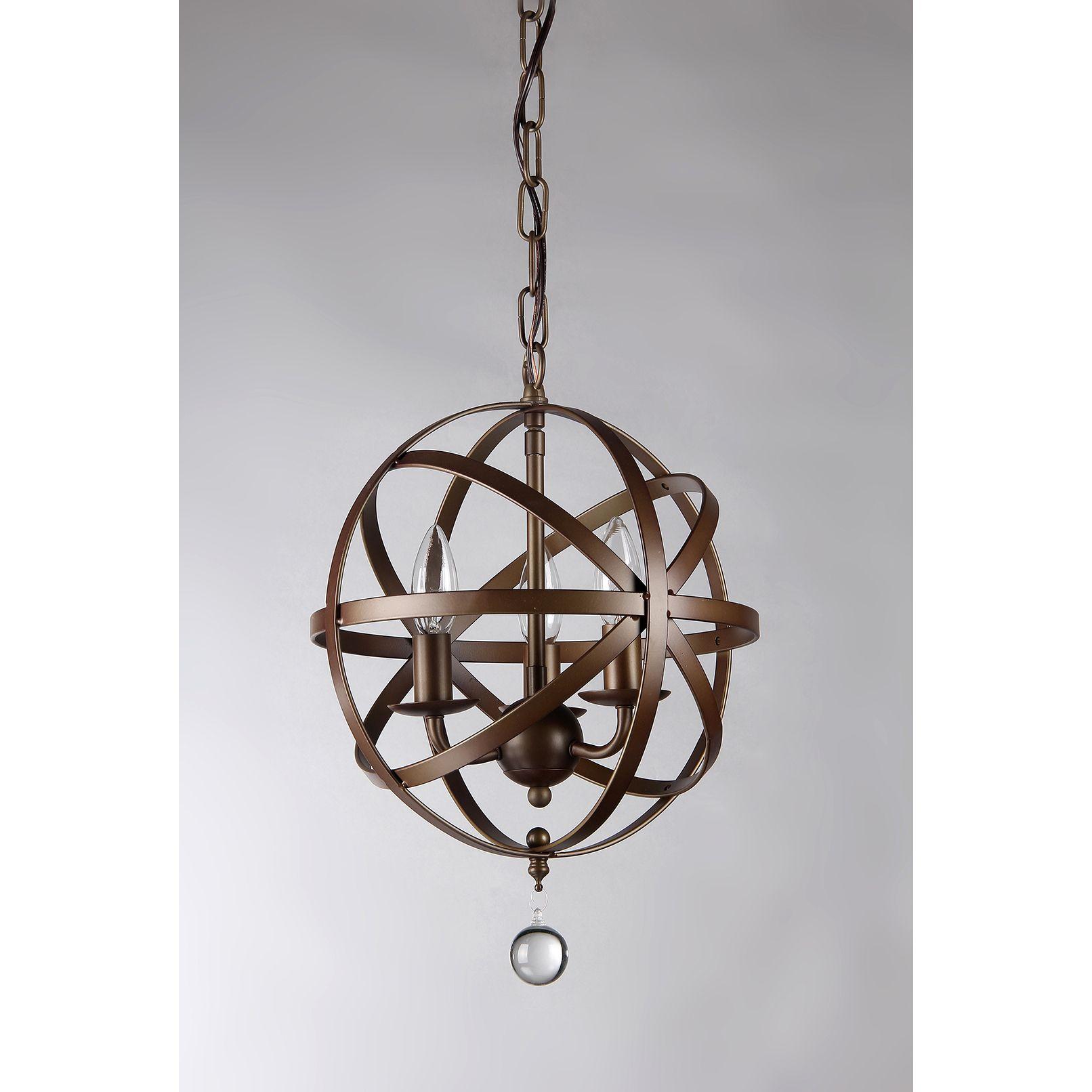 Riza 3-light Antique Bronze 12-inch Crystal Chandelier | Overstock ...