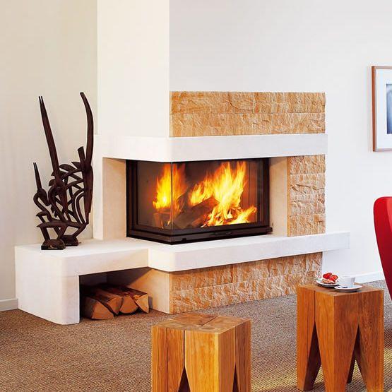 Contemporary fireplace surround / stone / corner COLVANNE ...