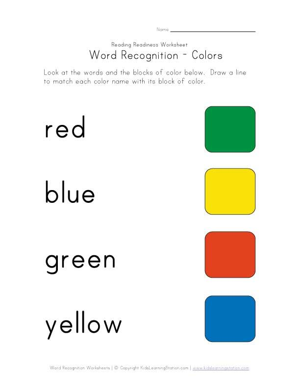 word recognition worksheet colors – Color Words Worksheets