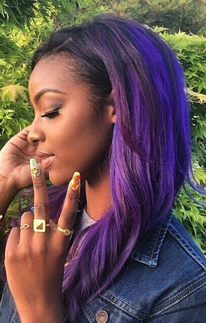 Justine Skye S Purple Hair Purple Hair Hair Styles Bright Hair